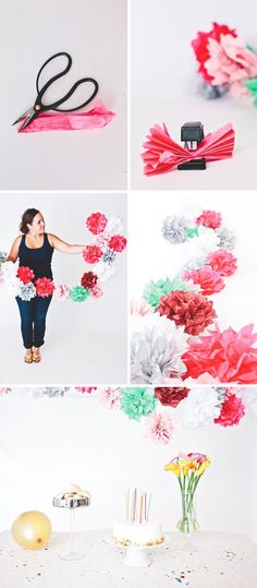 Tissue Paper Flower Garland Paper flowers make the perfect party decorations. We have the perfect project how to make tissue paper flowers for the cutest DIY paper flower garland! Paper Flower Garlands, Tissue Flowers, Diy Flowers, Flower Paper, Flower Diy, Tissue Paper Decorations, Flower Wrap, Tissue Paper Garlands, Paper Trees