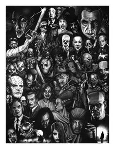 Monsters and Horror Movie Collage ~Halloween Arte Horror, Horror Art, Gothic Horror, Dark Beauty, Movie Collage, Collage Photo, Collage Art, Nerd, Horror Movie Characters