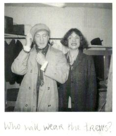 This is from Dame Harriet Walter's book, I believe. This is of them having fun; he wearing her hat, and she wearing the monocle...I love her grin here!