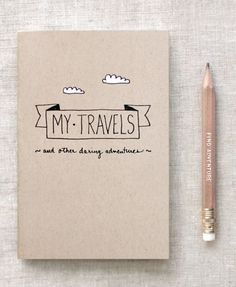 Travel Journal & Gold Foil Pencil Set, Brown Journal - Recycled Notebook - Hand Lettered