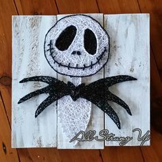 Jack Skellington, Nightmare before Christmas String Art, Made by hand with love in NSW, Australia. Find the rest of my pictures at. Disney String Art, Nail String Art, String Crafts, Halloween Nail Designs, Halloween Nail Art, Halloween Crafts, Coffee Painting Canvas, String Art Patterns, Christmas Drawing
