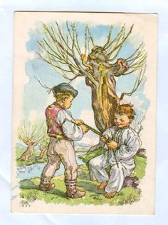Today is the first of several Easter posts where we will focus on Czech Easter traditions and folk customs throughout all the lands of Bohemia, Moravia and Slovakia. Antique Art, Vintage Art, Vintage Antiques, Jakub Schikaneder, Easter Traditions, Children's Book Illustration, Landscape Paintings, Images, Traditional