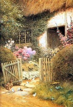 Arthur Claude Strachan (1865=1929). English Cottages