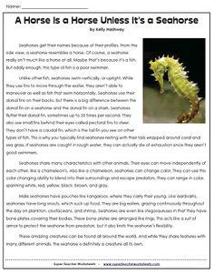 Your students will learn lots of interesting and unusual facts about seahorses when they read this article!