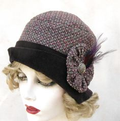 20s Cloche Hat in Womens Vintage Style Fabric in Wild Plum Tweed.  Creationsbygail.