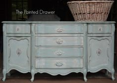 Provence with a Wash | The Painted Drawer  Provence buffet all done in Annie Sloan Provence, dark and clear waxes, distressed and whitewashed