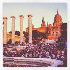 Barcelona, Montjuic fountains in the summer