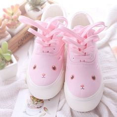Pink cartoon hand painted canvas shoes SE10109