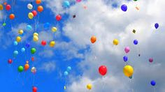 Reminds me of our ballon release for Riley :) Helium Filled Balloons, Mylar Balloons, Latex Balloons, Birthday In Heaven, Blue Birthday, Happy Birthday, Balloon Release, Garden Spinners, Floating Flowers