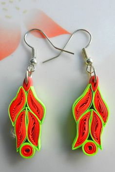 Bushra Arts: Quilling Ear Ring - Leaf Shape (Red+Green) 1.00$ only contact for wholesale and retail...with custom shape and color  ----Seller