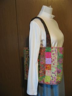 Large Quilted Tote Bag. Batik Stripes in summer colors of dark and bright green, pinks and purples.