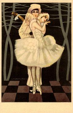 Giovanni Nanni (1888-1969) - Vintage Harlequin, Pierrot & Pierrette Art Deco Postcard 1