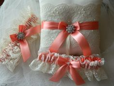 Wedding Garter And Ringbearer Set Ivory And Coral With Chantilly Lace And Jewel Rhinestone via Etsy