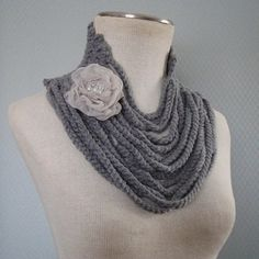 THIS ITEM WILL BE SHIPPED THREE DAYS AFTRER THE PURCHASE IS COMPLETE.   This hand crocheted,beautiful patern neck warmer/decorative scarf, whatever you make of it,is a perfect gift for love ones or for yourself.It's from smoke,and pet free home. Hand wash,lay flat to dry.The rose is detachable. It can be done in any color. I ship everything in boxes, via usps priority mail(domestic 2-3 days)and first class int.mail any qusetions please contact me,i will do my best to provide any requ...