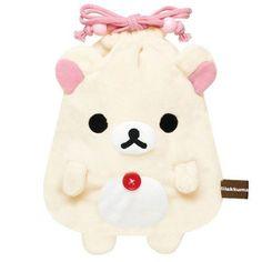 white Korilakkuma bear plush bento pouch bag