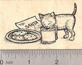 Christmas Eve Kitten Drinking Santa's Milk Rubber Stamp, Cat J19501 WM