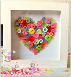Summer garden button heart in a professionally handmade box frame. From Marzipan Crafts £20.00