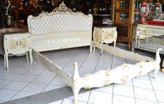Cama Luis XV Com 2 Criados Mudo com Mármore | SOS Móveis Antigos