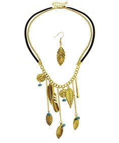 Drop Leaflet Gold Necklace + Earring Set
