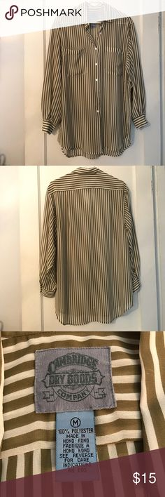 C A M B R I D G E  D R Y  G O O D S  C O Olive and white striped chiffon shirt | Long sleeves | Could be used as a beach cover up | Great used condition! Cambridge Dry Goods Company Tops
