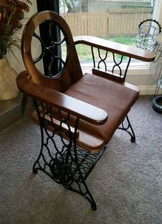 Old Treadle Sewing Machine Converted Into Singer Chair Recycled Furniture Recycling Metal Old Furniture, Repurposed Furniture, Furniture Projects, Rustic Furniture, Furniture Makeover, Painted Furniture, Furniture Design, Metal Projects, Vintage Furniture
