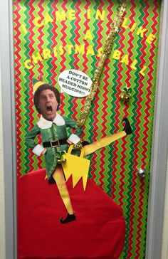 Buddy the elf door decoration. \ I came in like a Christmas ball!\  & Halloween Snapchat Door Decoration #halloween #classroom ...
