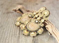 Large light brown soutache earrings with jasper stones by pUkke
