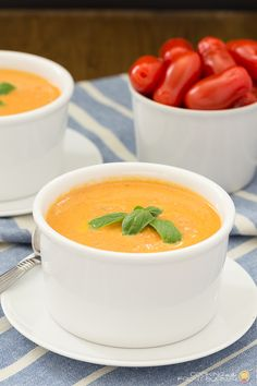 Make your own Tomato Basil soup with fresh ingredients that you can find at your local Farmer's Market.