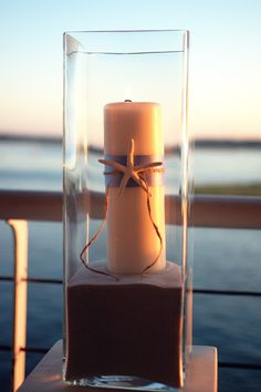 Beach theme decor with water and sunset backdrop!