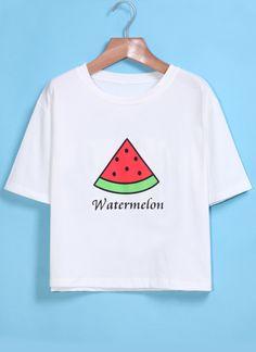 White Short Sleeve Watermelon Print T-Shirt 7.99