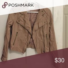 Bar III leather zip up jacket Light brown leather jacket. Only slightly used. No damage at all! Bar III Jackets & Coats Jean Jackets
