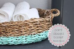 Dip a plain basket in paint for bright & easy added interest.