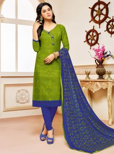 Readymade Collection Blue Churidar Suit in Cotton with Hand Work.Garment Gorgeous Churidar Suit Matched with Bottom and Scarf. Chudidhar Neck Designs, Salwar Neck Designs, Dress Neck Designs, Churidar Designs, Blouse Designs, Pakistani Frocks, Pakistani Dresses, Embroidery Designs, Simple Kurti Designs