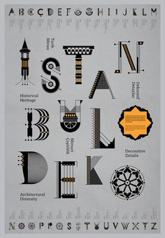 İstanbul Deko  Type. Typography by Geray Gencer on Flickr https://flic.kr/p/9PtKTG |   2011 integration of architectural masterpieces that reflect the meeting of Europe and Asia over many centuries, and in its incomparable skyline formed not only by the creative genius of Byzantine & Ottoman architects but also its buildings reflect the various culture &  empires that have ruled its predecessors. Genoese, Roman, and even Greek forms of architecture #Istanbul #type #decotype #decofont