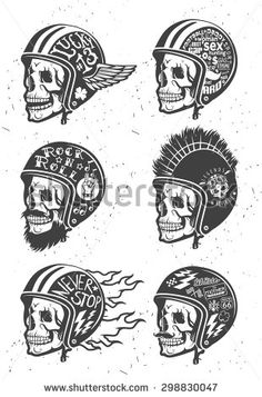Motorcycle Themed handmade drawing helmet with skull.