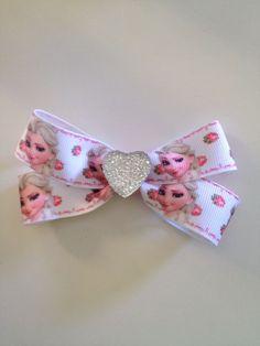 Disney FROZEN ELSA Ribbon Heart Princess Hair Bow Clip With Bling Rose