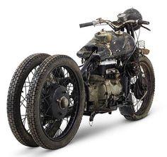 Ratrod steampunk antique motorcycle.