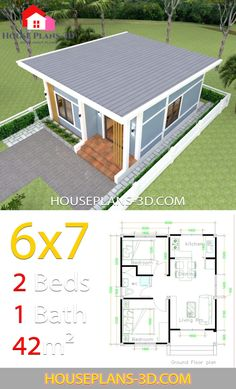 Simple House Plans with 2 bedrooms Shed Roof - House Plans Small House Floor Plans, Simple House Plans, My House Plans, Simple House Design, Tiny House Design, Garage House, House Roof, The Plan, How To Plan