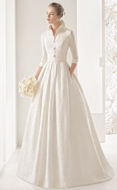 Rosa Clara 2017 Wedding Dresses with Greek Goddess Glamour Classic tailored three-quarter-sleeve silk brocade dress with open button collar and pleated skirt, in natural. Rosa Clara Wedding Dresses, Modest Wedding Dresses, Boho Wedding Dress, Bridal Dresses, Wedding Gowns, Winter Wedding Dresses, Wedding Dress Collar, Bridesmaid Dresses, Wedding Hijab