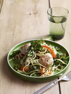 Linguine with Scallops, Red Pepper and Broccolini #myplate #pasta #seafood