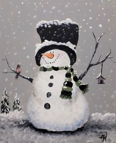 Afbeeldingsresultaat voor step by step directions on how to paint a snowman on canvas Christmas Rock, Christmas Scenes, Christmas Snowman, Winter Christmas, Christmas Ornaments, Snowman Crafts, Christmas Projects, Christmas Crafts, Christmas Decorations