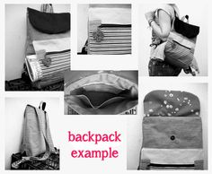Handmade backpack grey jeans white and black by Vallyscreations