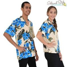 Hawaiian Shirts Couple Matching Set Mens and Ladies Blouse Fancy Dress Uniforms. Luau Party Clothing, Cruise, Golf Days, Halloween, Holidays and more. #matchymatchy