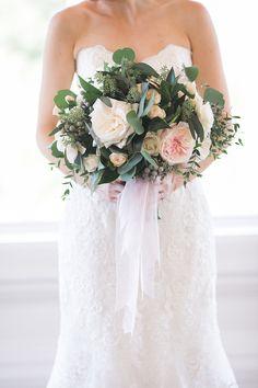 Carmel Mountain Ranch Country Club Blush & ivory, garden romantic bridal bouquet by San Diego wedding florist, Compass Floral.