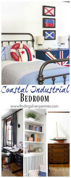 Coastal Industrial Bedroom by Finding Silver Pennies