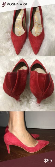 Sam Edelman Red Suede 3 inch heels size 7.5 Only worn once! Beautiful red (faux) Suede heels from Sam Edelman. Fits true to size! Sam Edelman Shoes Heels