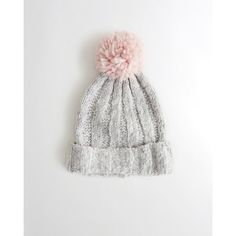 Hollister Pom Shine Ribbed Beanie ( 20) ❤ liked on Polyvore featuring  accessories 9c1275180029