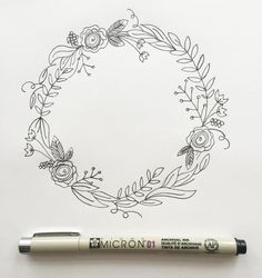 """I'm back with my third post in the """"How to Draw"""" series. (You can view the first two here and here.) I love drawing wreaths but I find myself feeling really overwhelmed when I sit down to draw one. Where do I start? What do I draw? Too sparse? Love Drawings, Pencil Drawings, Minimal Drawings, Wreath Drawing, Bullet Journal Inspiration, Journal Ideas, Doodle Art, Zen Doodle, How To Draw Hands"""