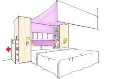 Das Bett An Der Wand, Links Und Rechts Ein Nachttischchen, Gegenüber Der  Schrank,