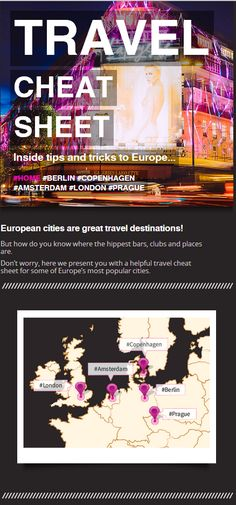 This handy cheat sheet gives you access to some very useful Insider Travel Tips for Europe cities including Amsterdam, Copenhagen and Berlin